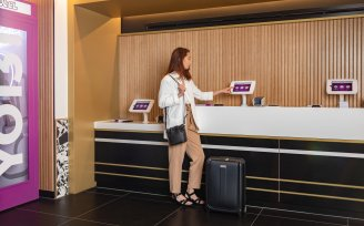 YOTEL Edinburgh Mission Control and check-in kiosks